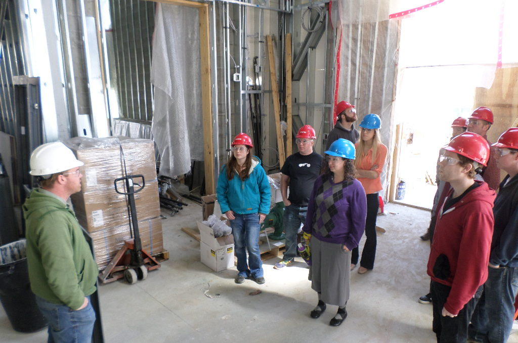 Students on a site visit as part of the Architectural and Civil Engineering at Central Maine Community College.