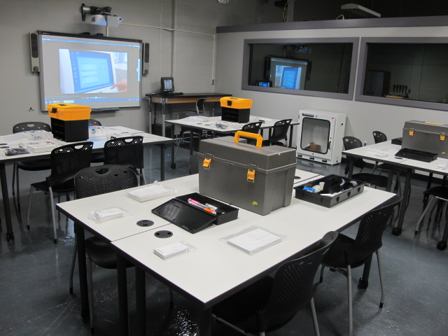 Forensic kit setup in the lab as part of the Forensic Science degree at Central Maine Community College