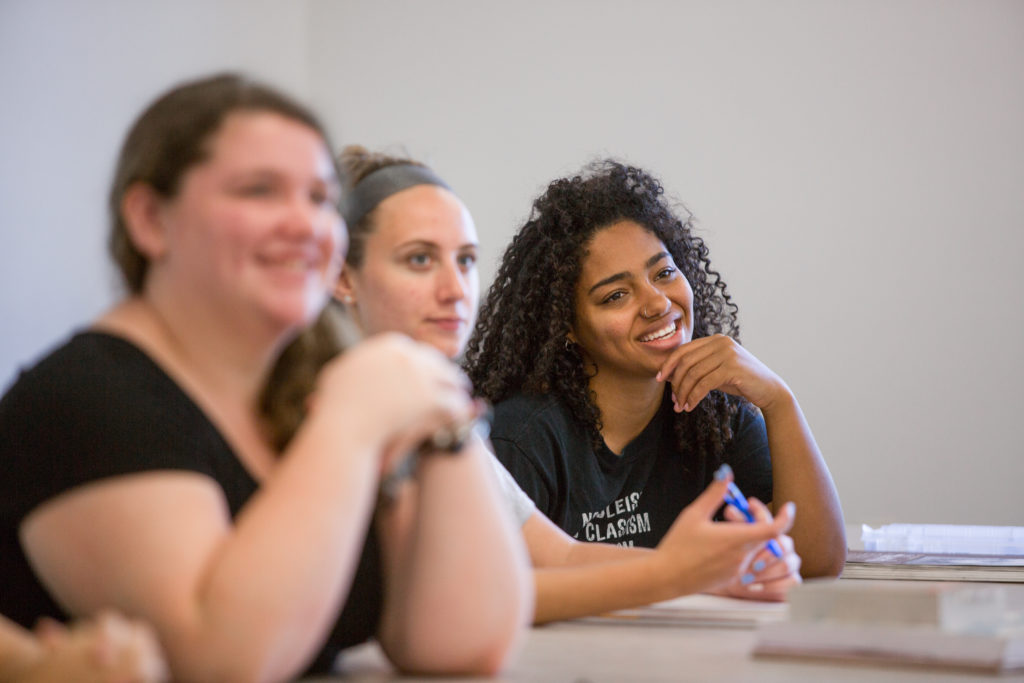 Three students in an American Sign Language class at Central Maine Community College