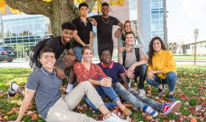 Group of Students on Campus in Autumn
