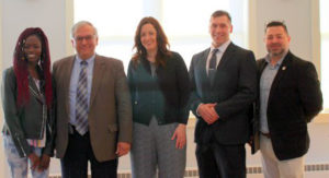 AVBOR Scholarships 2019. Pictured left to right are scholarship recipient Kauna Yaga; CMCC Dean of Planning & Public Affairs Roger Philippon; scholarship recipients Lyndsay Vachon and Seth Boucher; and Steve Brackett, president of the Council. Absent from the photo is scholarship recipient Jacynda Rousseau.