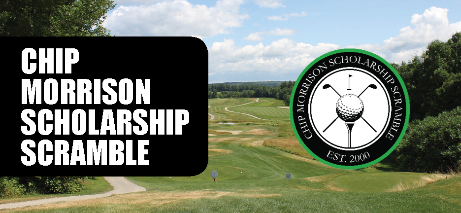 2019 Chip Morrison Scholarship Scramble website header with image of golf course and round tournament logo