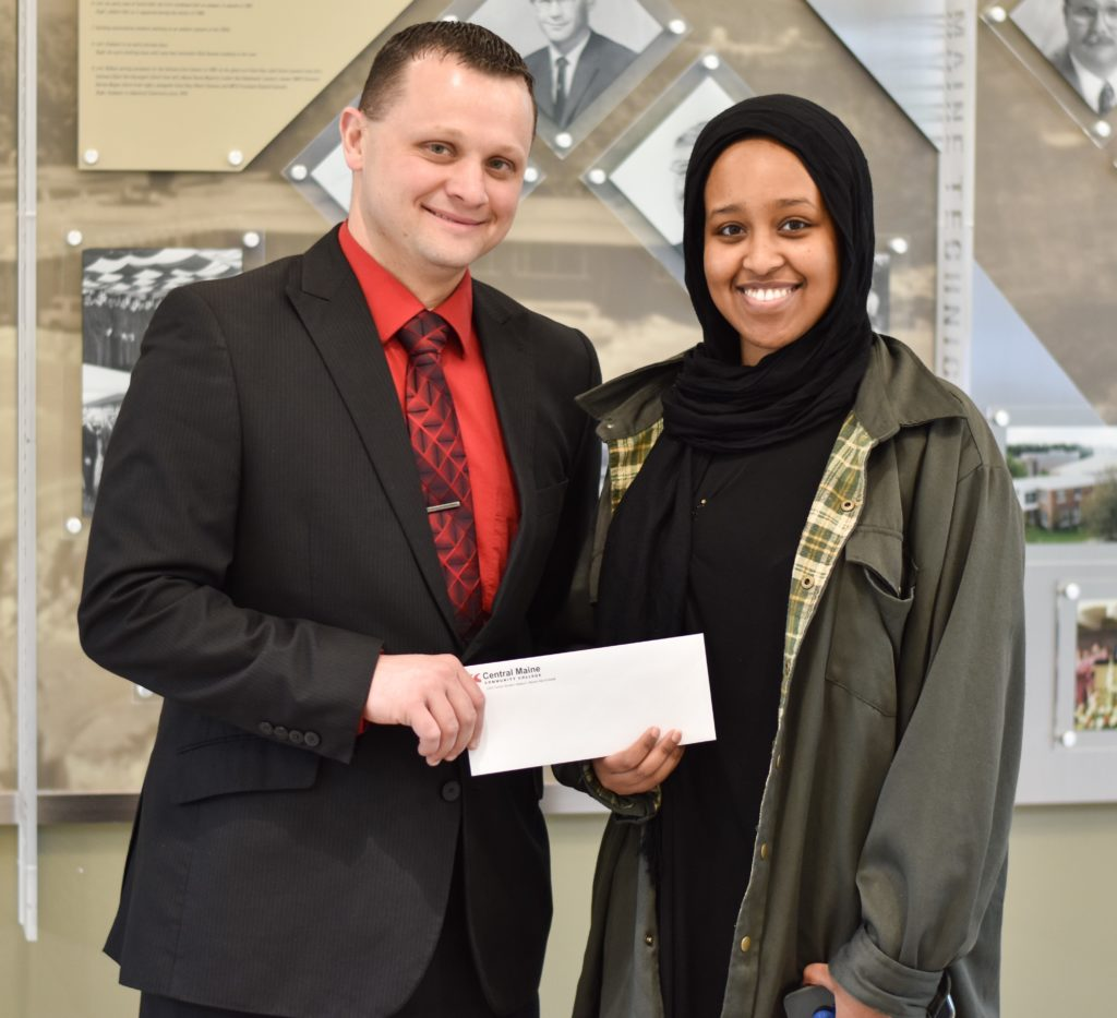 2019 James McGowan Scholarship Recipient Zakiya Sheikh with Dean of Student Services Nicholas Hamel.