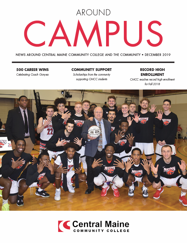 Cover of the December Around Campus newsletter featuring the men's basketball team