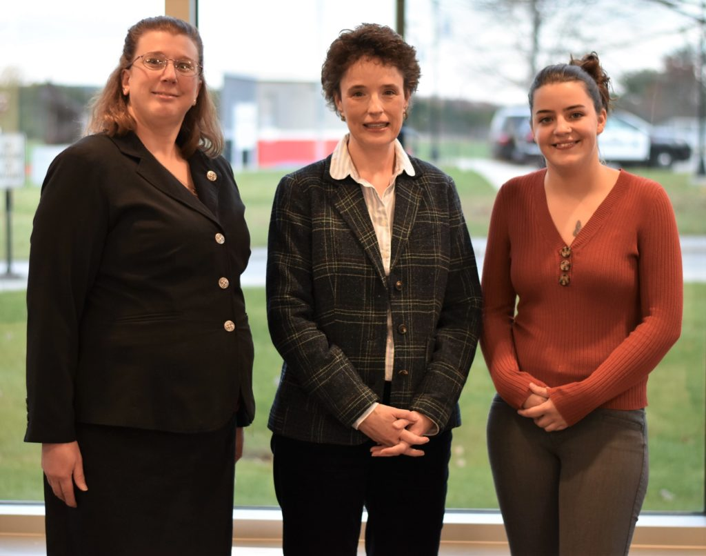 The two MEREDA scholarship recipients at CMCC, Sarah Pierce, left, and Bailey Pullen, right, are pictured here with Shelly Clark, MEREDA vice president of operations.
