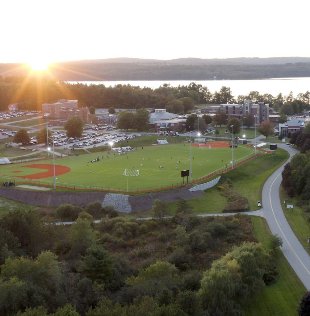 Aerial photo of the campus as sunset from the entrance road
