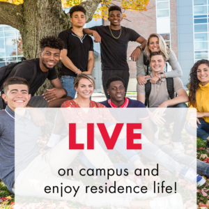 "A group of nine diverse students sit and stand under a tree. Text overlay says ""Live on campus and enjoy residence life"""