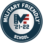 Red White Blue and Gray Military Friendly School Logo