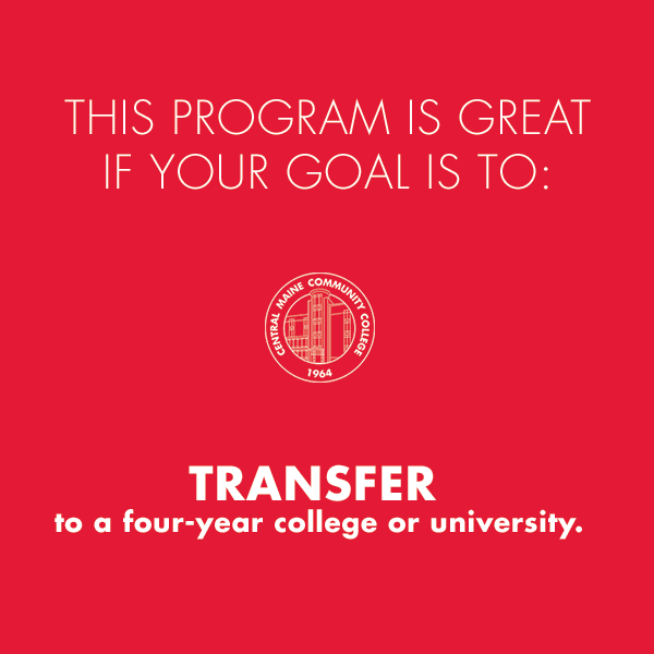 "Red block with text ""This program is great if your goal is to transfer to a four-year college or university"""