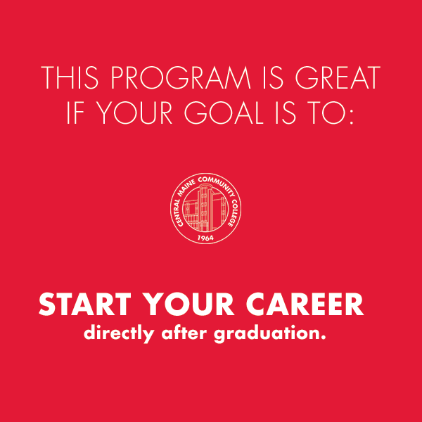 """Red block with text """"This program is great if your goal is to start your career directly after graduation."""""""